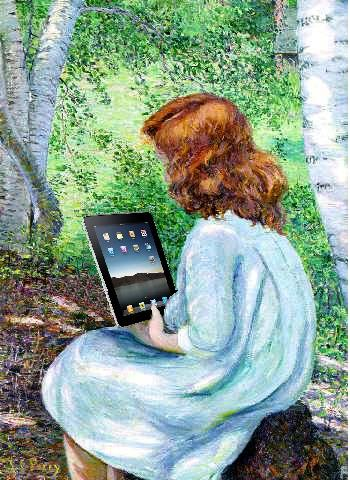 Girl using ipad