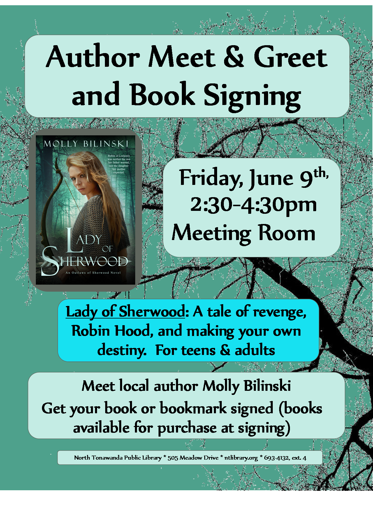 lady of sherwood author visit 2017 flyer online
